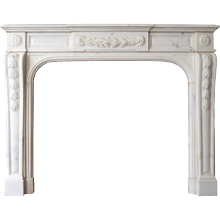 A 19th Century Statuary White Marble French Fireplace