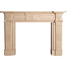 Antique Finely Carved  Statuary White Marble Fireplace Mantel