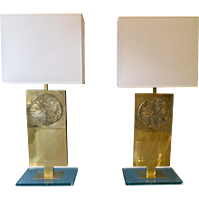 A Pair of Italian Brass and Glass Table Lamps
