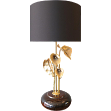 """A Tall Gilt """"Lily"""" Table Lamp"""
