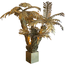 Large Brass Palm Table Lamp