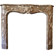 19th Century French Louis XV Style Marble Fireplace Mantel