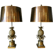 Pair of Maison Charles Bronze Pineapple Table Lamps