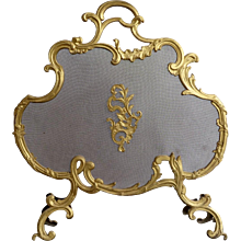 Gilt Brass Rococo Style Fire Screen