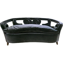 Two-Seat Curved Italian Mid-Century Sofa