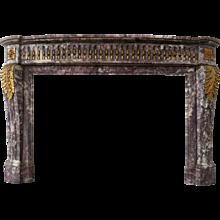 An Antique Louis XVI Style Breche Violette Marble Fireplace Mantle