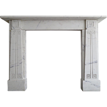 English Sir John Soane Style White Marble Fireplace Mantle