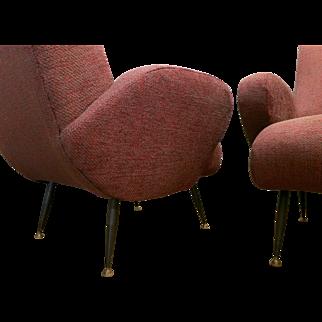 Pair of Italian Mid-Century Armchairs