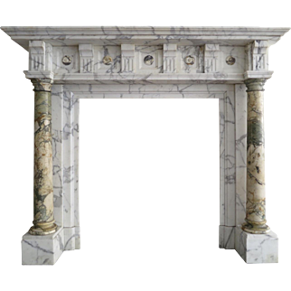 An Antique Arabescato and Breche Columned Marble Fireplace Mantle