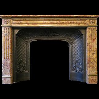 Antique Louis XVI Fireplace Mantel in Breche d'Alep Marble