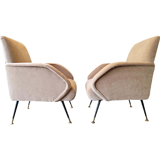 A Pair of Pale Pink Velvet Italian Armchairs