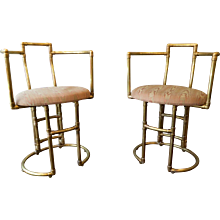 A Pair Of Brass Side Chairs