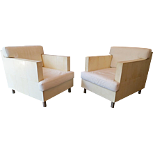 A Pair Of French Parchment and Leather Armchairs
