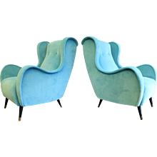 A Pair of Velvet Armchairs in The Manner of Zanuso