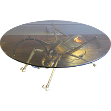 A Brass and Agate Insect Table