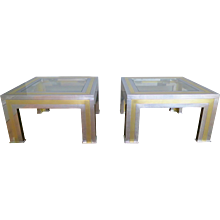A Pair of French  Brass and Chrome Side Tables