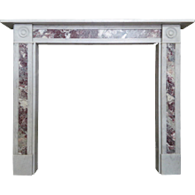 Regency Style Carrara Marble Fireplace with Fleur de Peche Inlay