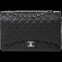 Chanel Jumbo Black Caviar Leather
