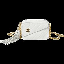 Chanel Vintage Shoulder Bag White Leather Tassel