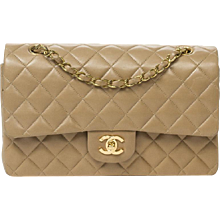 Chanel Classic Double Flap 26cm Beige Leather