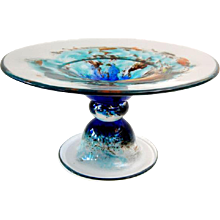 'Sunset Sky' #0502 by Richard Rooze, is the second of a series of eight Glass Pedestal Bowls on cloudy skies.