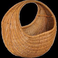 Wicker Baby Basket by Dirk van Sliedrecht for Rohé Netherlands, circa 1950