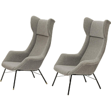Set of 2 Wingback Easy Chairs by Miroslav Navratil for Cesky Nabytek, circa 1950