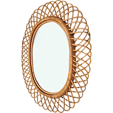 Rattan Mirror in the Style of Franco Albini, circa 1950