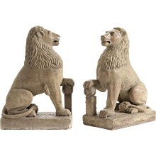 Pair of 19th century stone lions