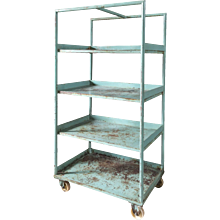 Open iron cabinet with wheels