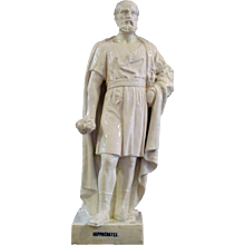 "19th century glazed faience statue ""Hippocrates"""