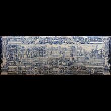 """18th century Portuguese azulejos """"Harbour scene"""""""