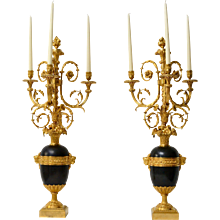 An Important Pair of Gilt and Patinated Bronze Louis XVI Candelabra attributed to Francois Remond.