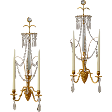 A Pair of Swedish Gilt Bronze and Crystal  Wall Lights, Late 18th Century