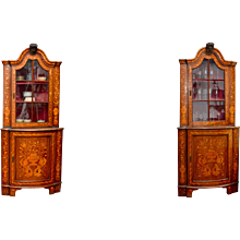 Pair of Dutch Corner Vitrine Cabinets With Floral Intarsia, 19th century