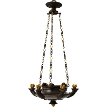 A Patinated and Gilt Bronze Empire Chandelier