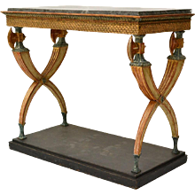 Swedish Empire Gilded and Patinated Wood Console Table With A Marble Top