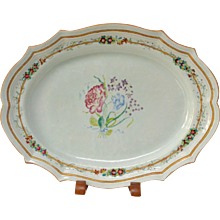 An Oval Chinese Famille Rose Porcelain Plate, 18th Century