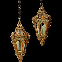Pair of Venetian Rococo Hanging  Lanterns, 18th Century