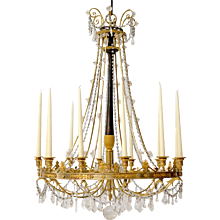 A French Early 19th Century Gilt and Patinated Bronze Chandelier with Crystals