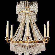 Gustavian  gilt bronze and crystal chandelier from around 1800