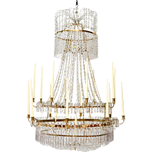 A Large Swedish Gustavian Gilt Bronze and Crystal Chandelier, Ca. 1800