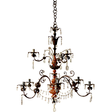 A 18th Century Baroque Iron, Crystal and Painted Wood Chandelier