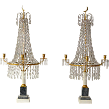 A Pair of Louis XVI Crystal and Gilt Bronze Candelabra With a  Marble Base