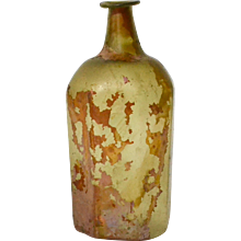 A Roman glass bottle 1st-3rd cent AD.