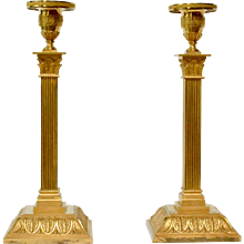 A Pair of Empire Gilt Bronze Candlesticks, Possibly Vienna