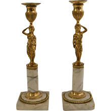 Pair of gustavian gilt bronze and white marble candlesticks, late 18th century