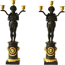 PAIR OF EMPIRE GILT AND PATINATED BRONZE CANDELABRA ATTRIBUTED TO PIERRE CHIBOUST, PARIS, CIRCA 1810-20.