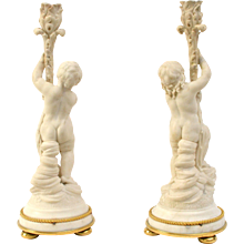 Pair Of  Louis XVI White Marble Candlesticks With Gilt Bronze Mounts, 18th Century