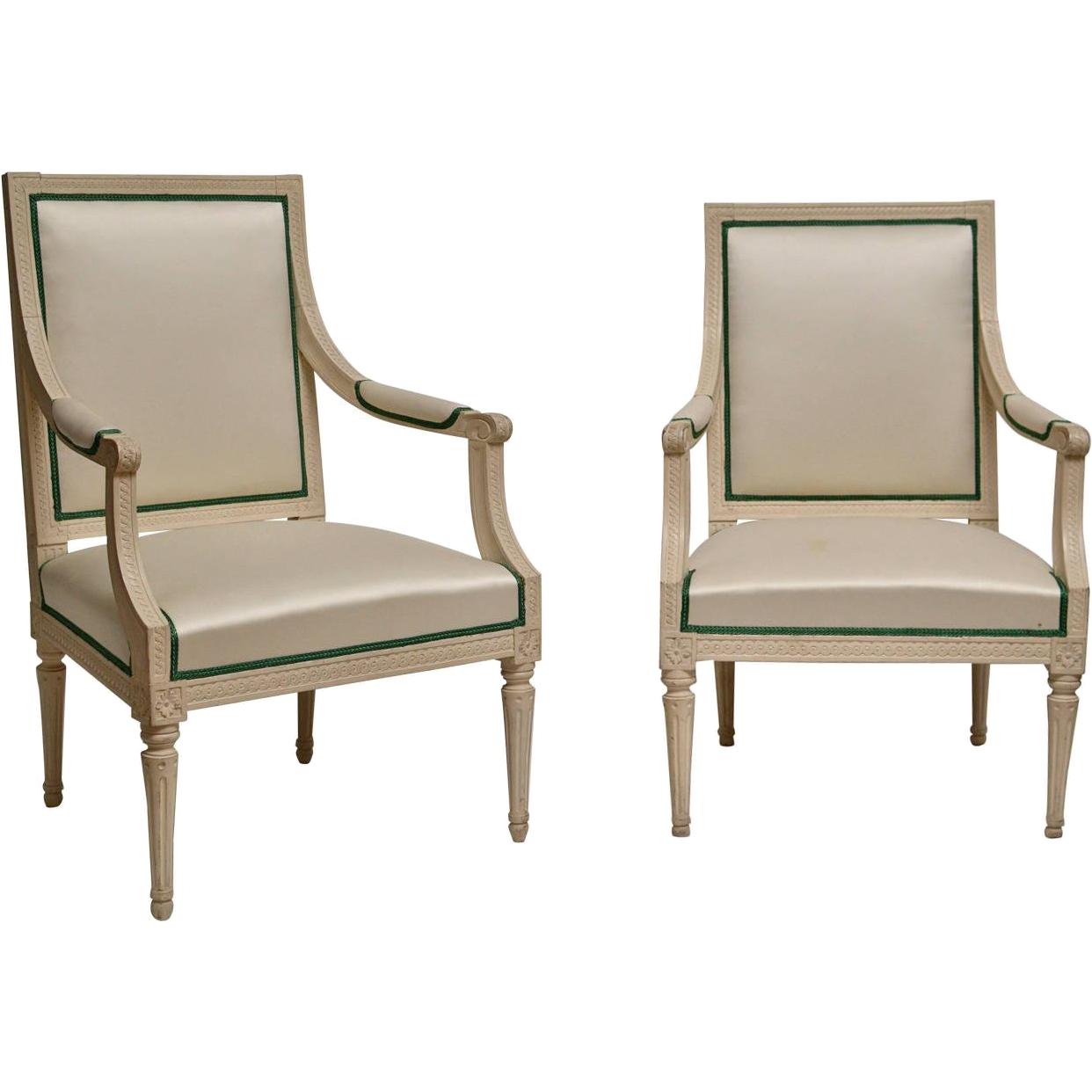 201509: Pair Of Crème Painted Gustavian Armchairs, Johan Lindgren